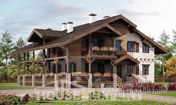 Проект дома 397м², жилая площадь 123м²