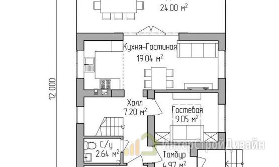 Строительство 2х этажного дома из газобетонных блоков 107м²