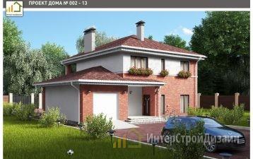 Двухэтажный дом из керамзитобетонных блоков и кирпича 177 м²