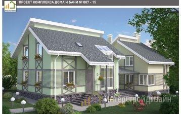 Двухэтажный дом из газобетонных блоков и кирпича 120 м²
