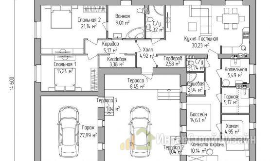Строительство одноэтажного дома из газобетонных блоков 182м²