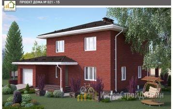 Двухэтажный дом из газобетонных блоков с гаражом 164 м²