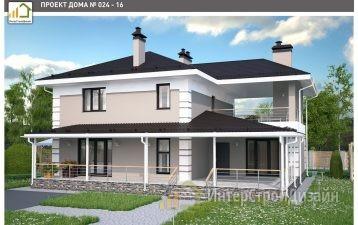 Двухэтажный дом из керамзитобетонных блоков 212 м²