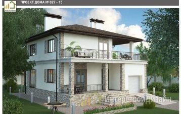 Двухэтажный дом из газобетонных блоков с гаражом 221 м²