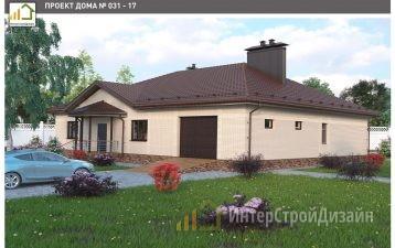 Одноэтажный дом из газобетонных блоков с гаражом 225 м²