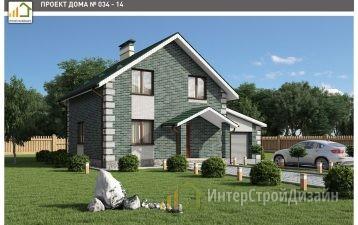 Двухэтажный дом из керамических блоков с гаражом 122 м²