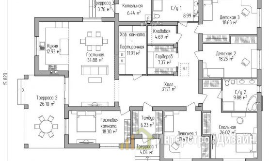 Одноэтажный дом из газобетонных блоков 244 м²