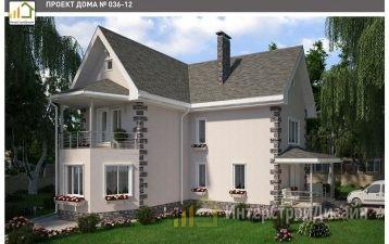 Двухэтажный дом из газобетонных блоков и кирпича 123 м²