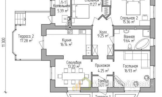 Строительство одноэтажного дома из газобетонных блоков 111м²