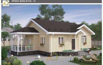 Одноэтажный дом из газобетонных блоков и кирпича 111 м²