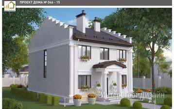 Двухэтажный дом из газобетонных блоков и кирпича 181 м²