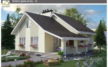 Одноэтажный дом из керамзитобетонных блоков и кирпича с мансардой 93 м²
