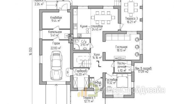 Двухэтажный дом из газобетонных блоков и кирпича 238 м²