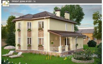 Двухэтажный дом из керамзитобетонных блоков 148 м²
