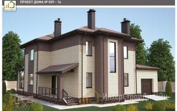 Двухэтажный дом из газобетонных блоков с гаражом 219 м²