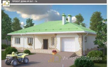 Одноэтажный дом из газобетонных блоков и кирпича 192 м²