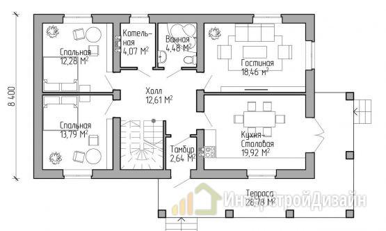 Двухэтажный дом из газобетонных блоков и кирпича 184 м²
