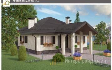 Одноэтажный дом из газобетонных блоков и кирпича 108 м²