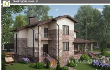 Двухэтажный дом из газобетонных блоков и кирпича 182 м²