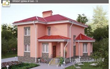 Двухэтажный дом из керамических блоков и кирпича 185 м²