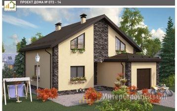 Двухэтажный дом из газобетонных блоков с гаражом 179 м²