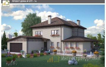 Двухэтажный дом из керамических блоков с гаражом 298 м²