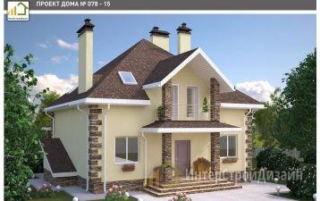 Двухэтажный дом из газобетонных блоков с мансардой 214 м²