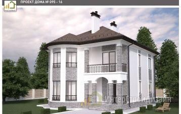 Двухэтажный дом из газобетонных блоков и кирпича 195 м²