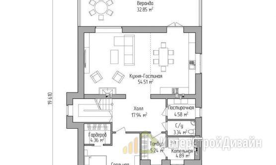 Двухэтажный дом из газобетонных блоков 279 м²