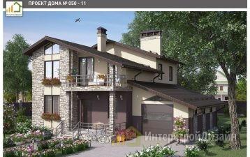Двухэтажный дом из газобетонных блоков с гаражом 207 м²